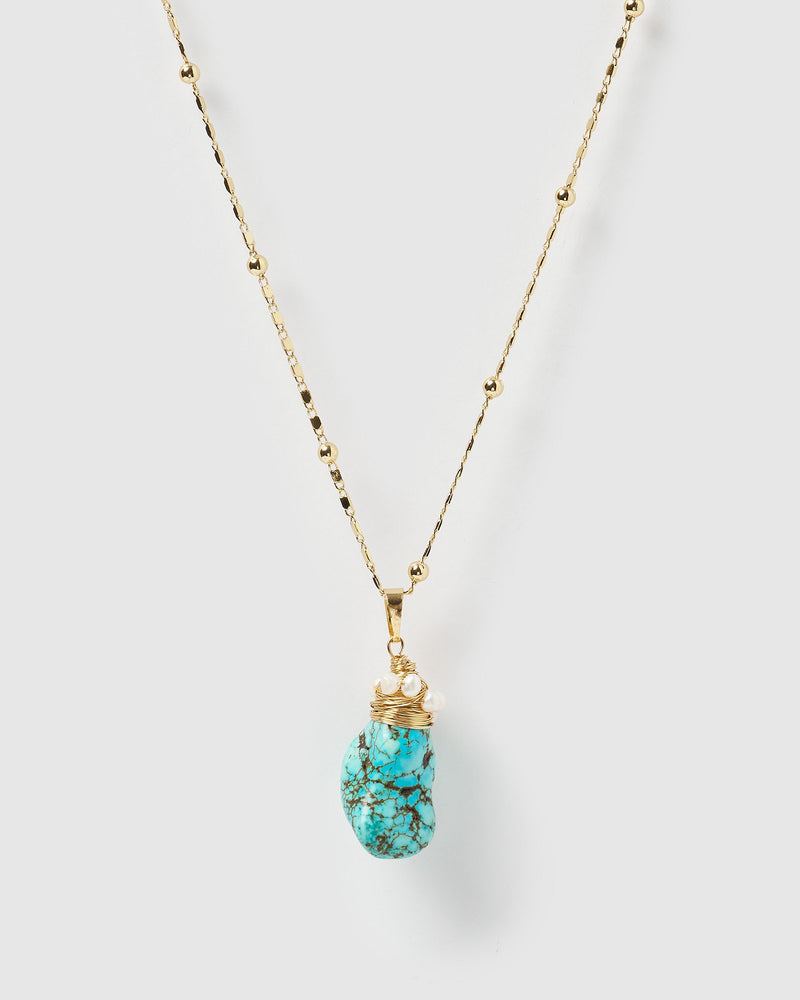 Miz Casa & Co Jada Pendant Necklace Gold Turquoise