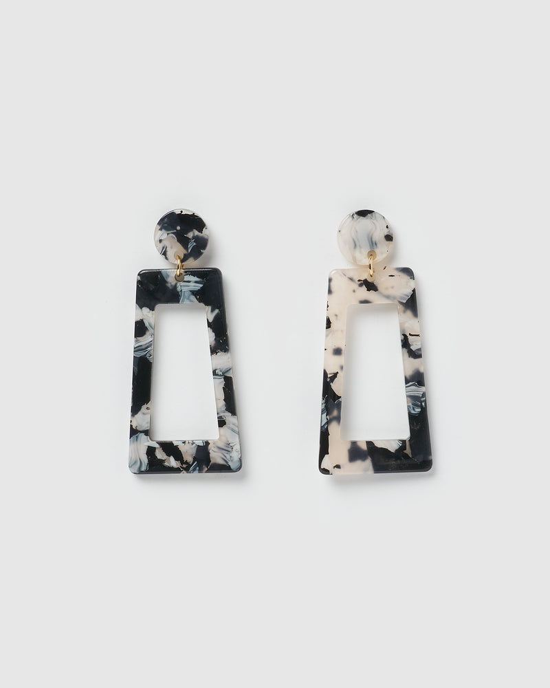 Izoa Jelena Earrings Black White