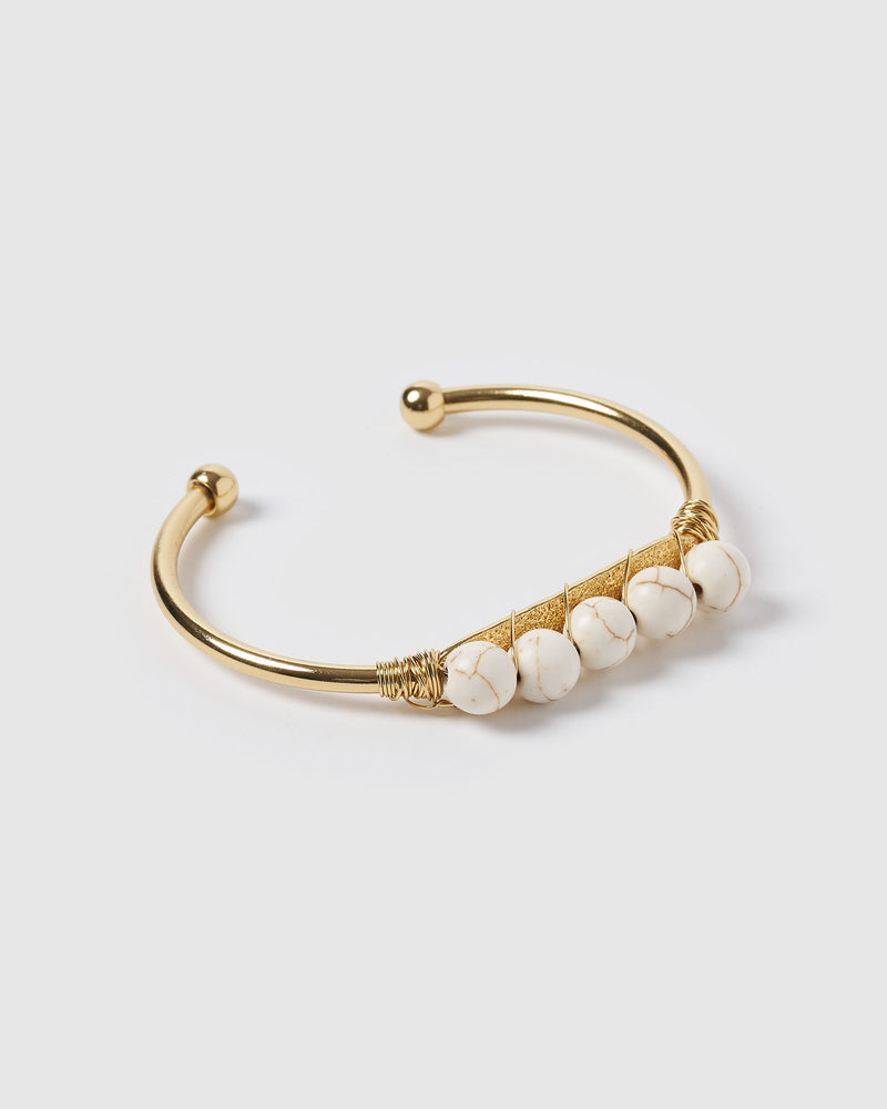 Miz Casa & Co Juliana Cuff Bracelet Gold White Marble