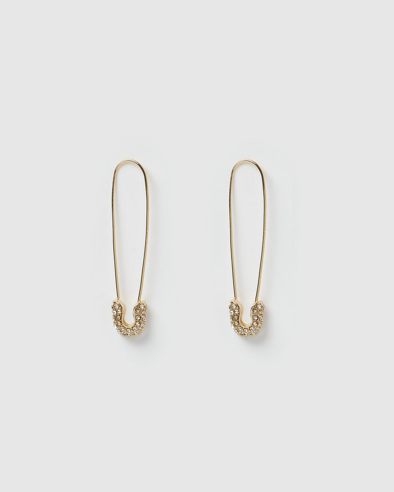 Izoa Justice Safety Pin Earrings Gold Crystal