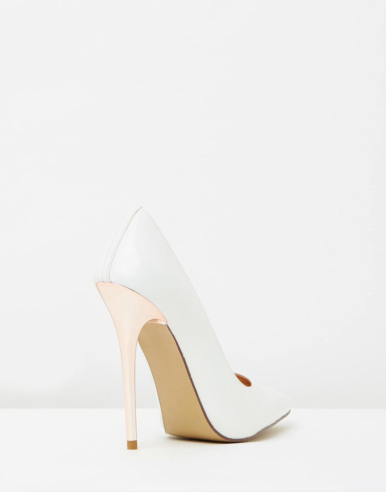 Izoa Khloe Heels White Rose Gold