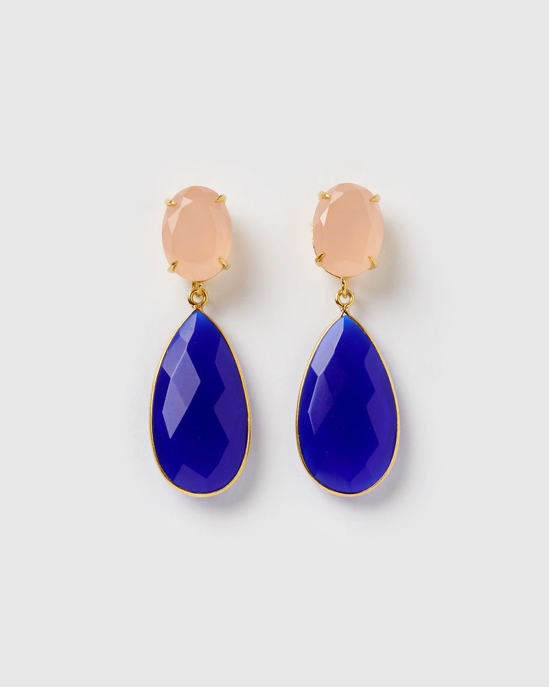 Izoa Stella Earrings Blue Pink Chalcedony