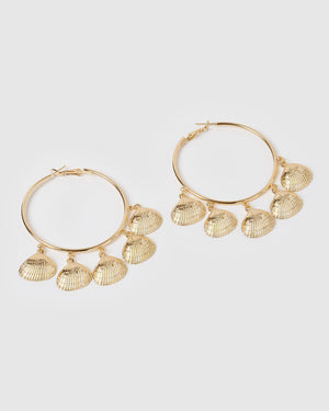 Miz Casa & Co Leilani Shell Hoop Earrings Gold