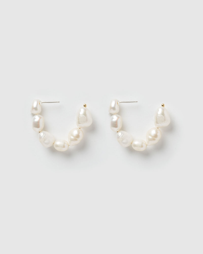 Izoa Leto Hoop Earrings Freshwater Pearl