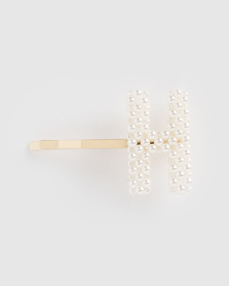 Izoa Letter H Hair Pin Gold Pearl