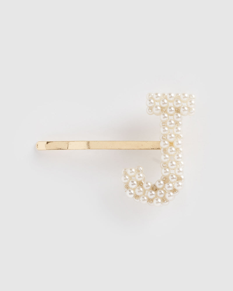 Izoa Letter J Hair Pin Gold Pearl