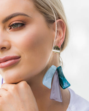 Izoa Liberty Earrings Blue Multi Colour