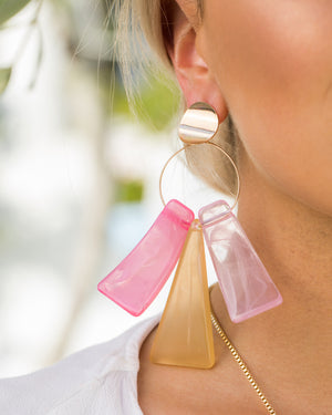 Izoa Liberty Earrings Pink Multi Colour