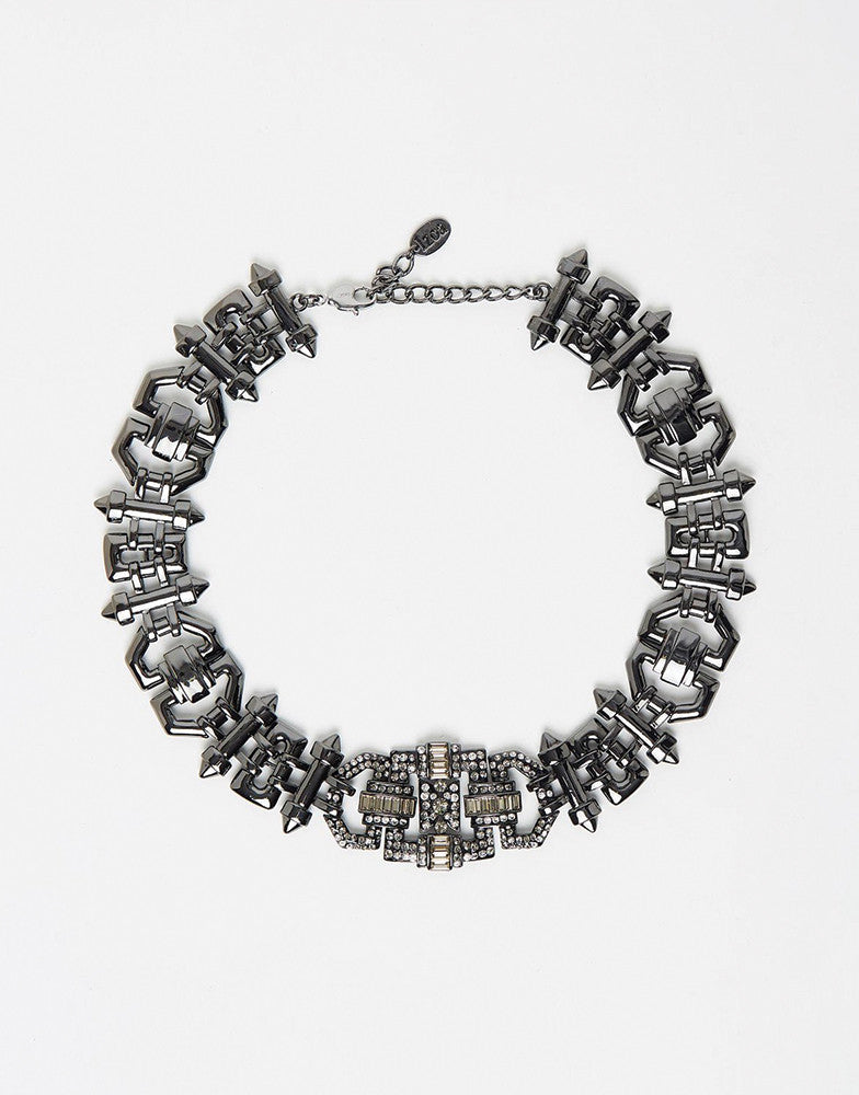 Izoa Lily statement gunmetal necklace
