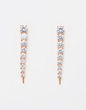 Izoa Limelight Earrings Rose Gold Clear
