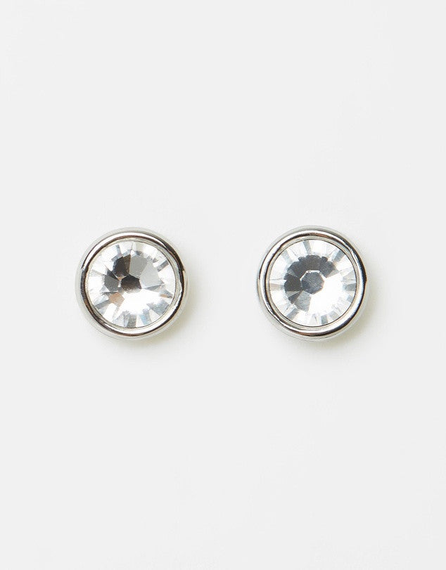 Izoa Little Stud Earrings Silver Clear
