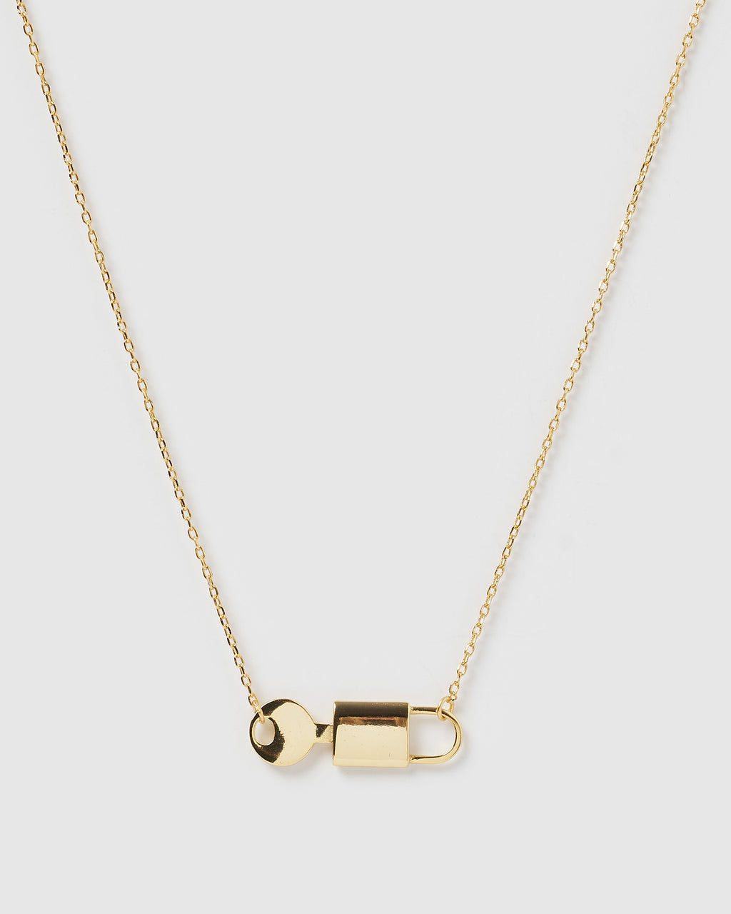 Izoa Lock and Key Necklace Gold