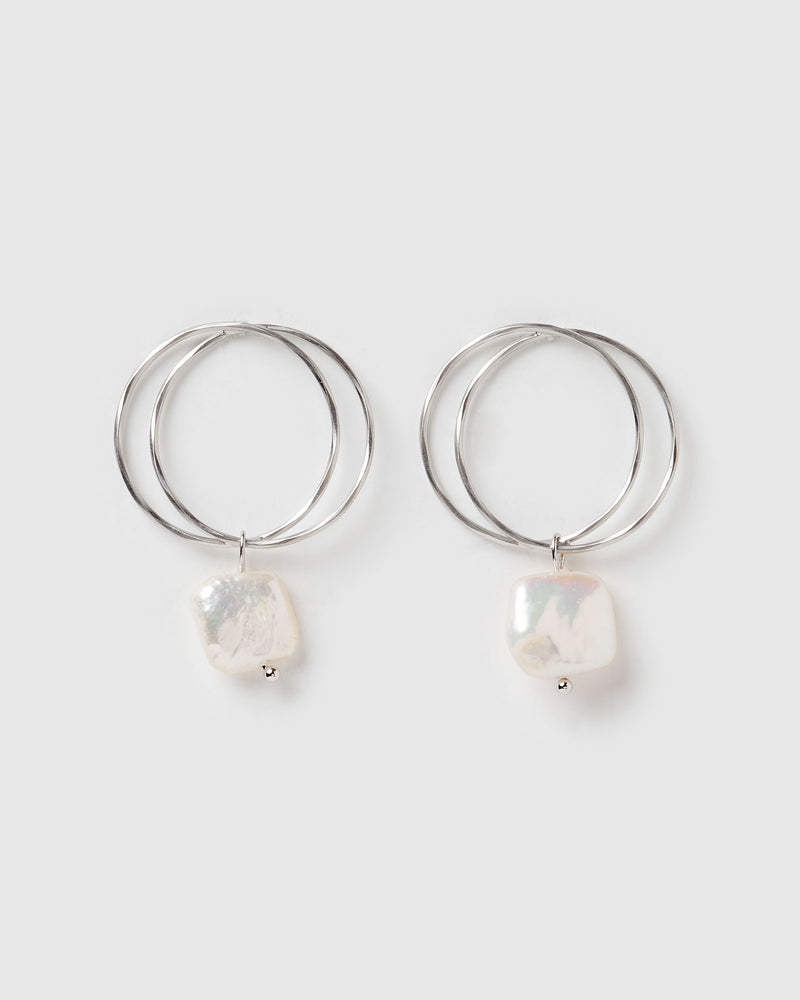 Izoa Lucid Earrings Silver Freshwater Pearl