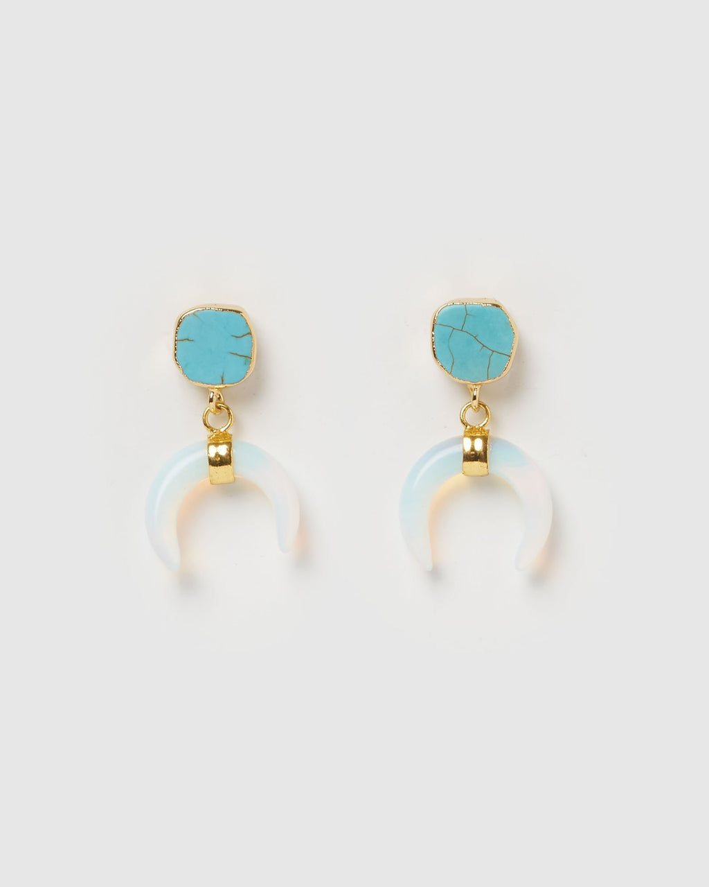 Miz Casa & Co Lucky Charm Earrings Blue Moonstone