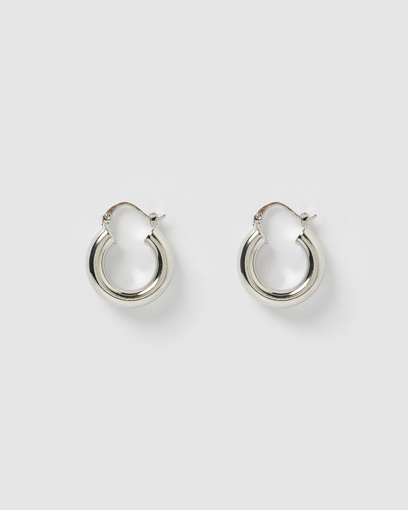 Izoa Lainy Hoop Earrings Silver