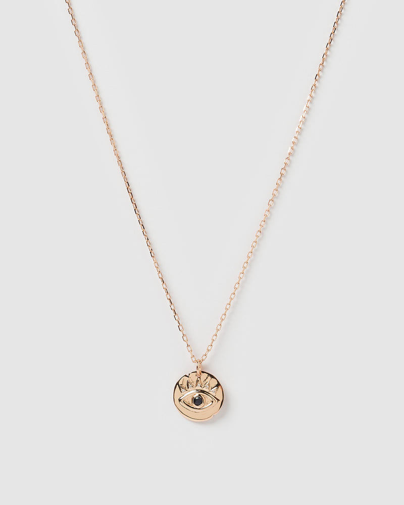 Izoa Leah Eye Necklace Rose Gold