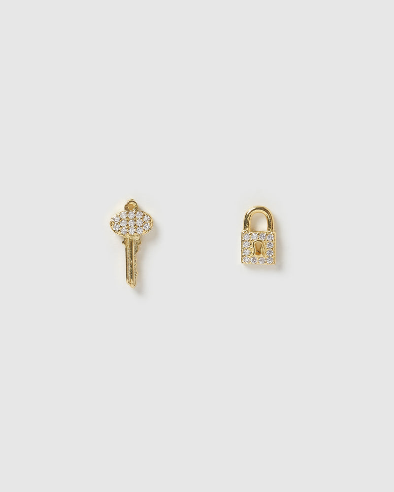Izoa Mini Locket Stud Earrings Gold