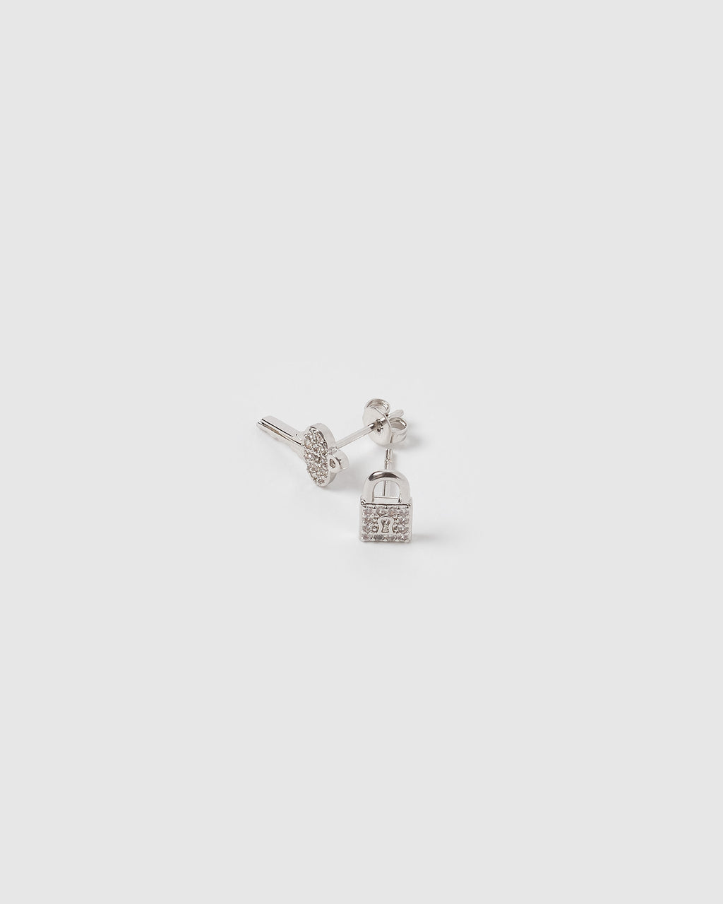 Izoa Mini Locket Stud Earrings Silver