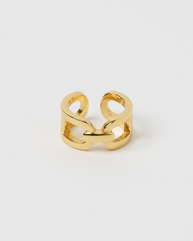 Izoa Lydia Chain Ring Gold