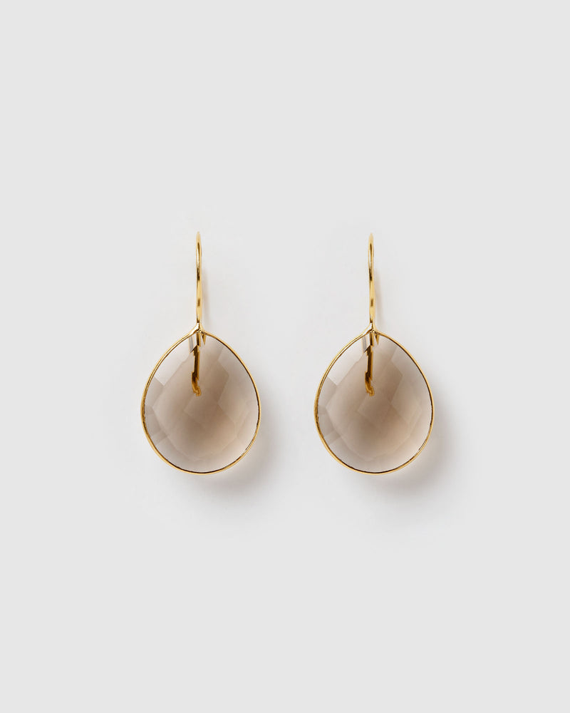 Izoa Maia Earrings Smokey Topaz Quartz Gold