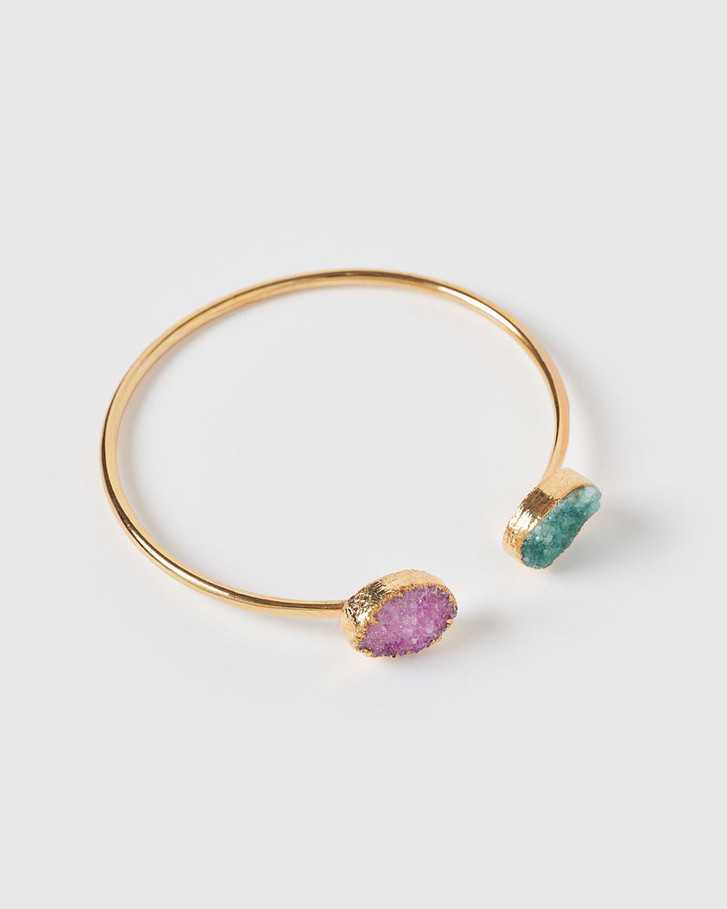 Miz Casa & Co Maisie Gemstone Cuff Bracelet Gold