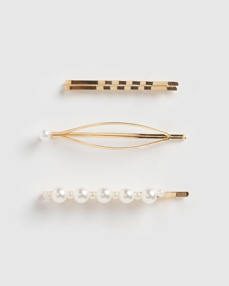 Izoa Maison Hair Pin Set Gold Pearl