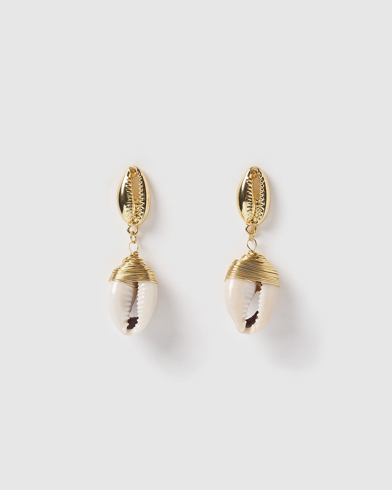 Miz Casa & Co Maui Shell Earrings Gold