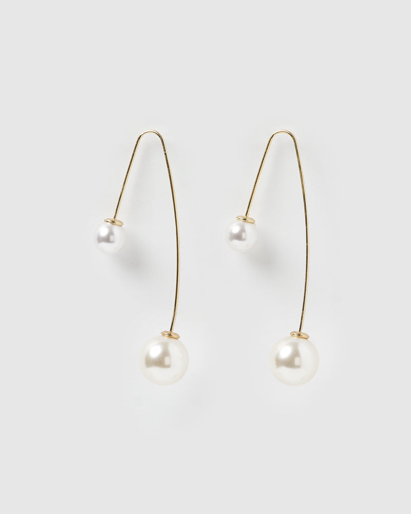 Izoa Mei Earrings Gold Freshwater Pearl