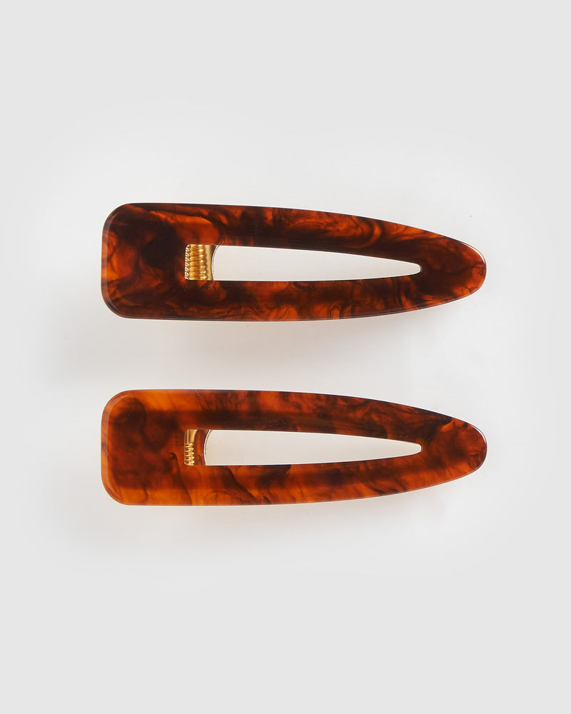 Izoa Mia Hair Clip Set Marbled Chestnut