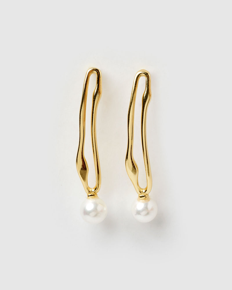 Izoa Midnight Drop Earrings Gold Freshwater Pearl
