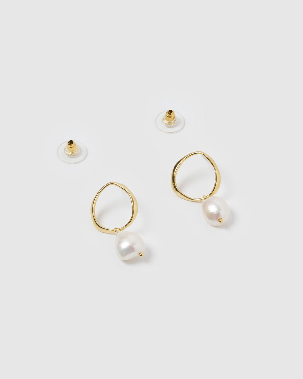 Izoa Mini Pearl Drop Earrings Gold