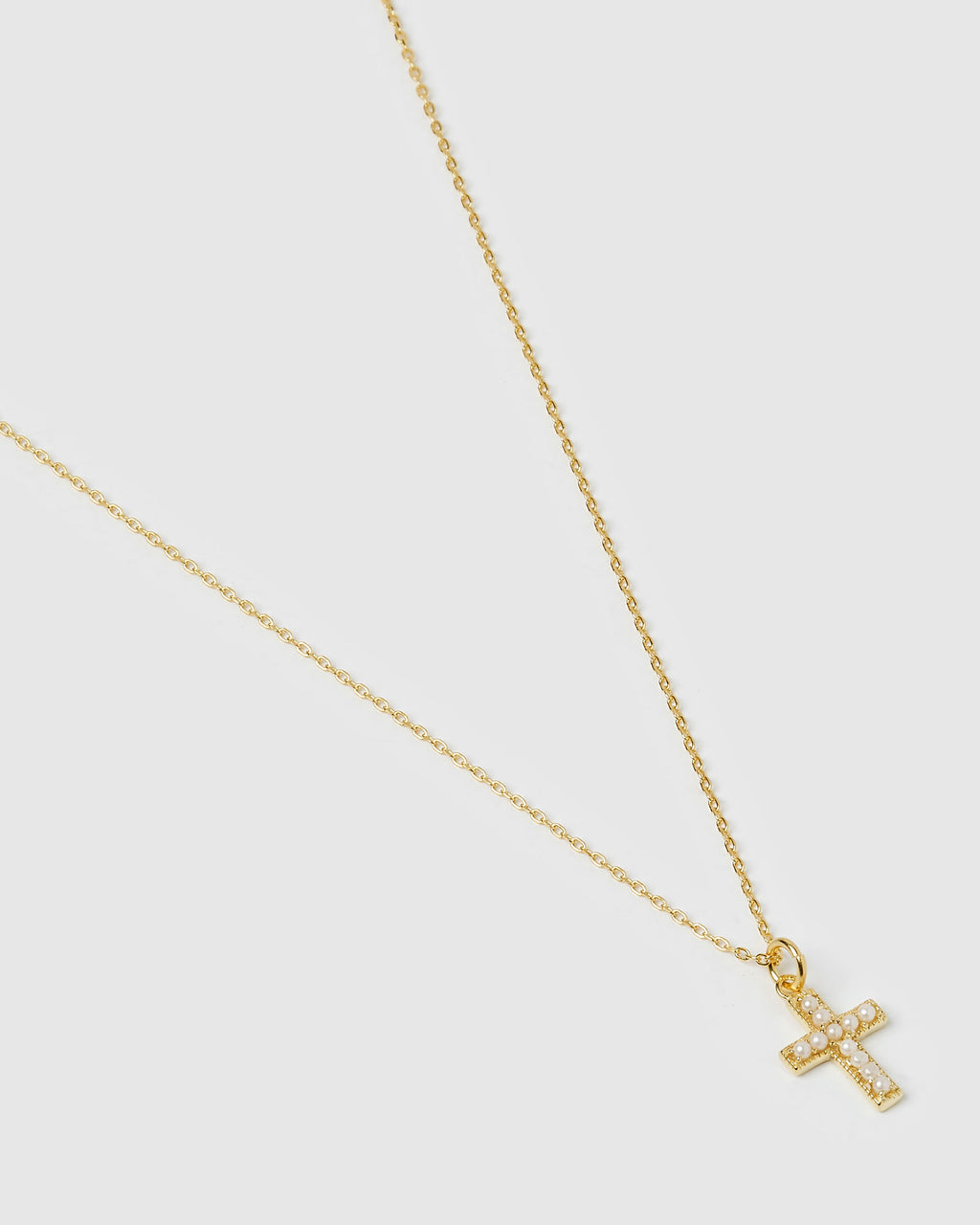 Izoa Mini Cross Necklace Gold Pearl