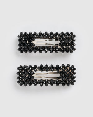 Izoa Mini Dazzled Hair Clip Set Silver Black