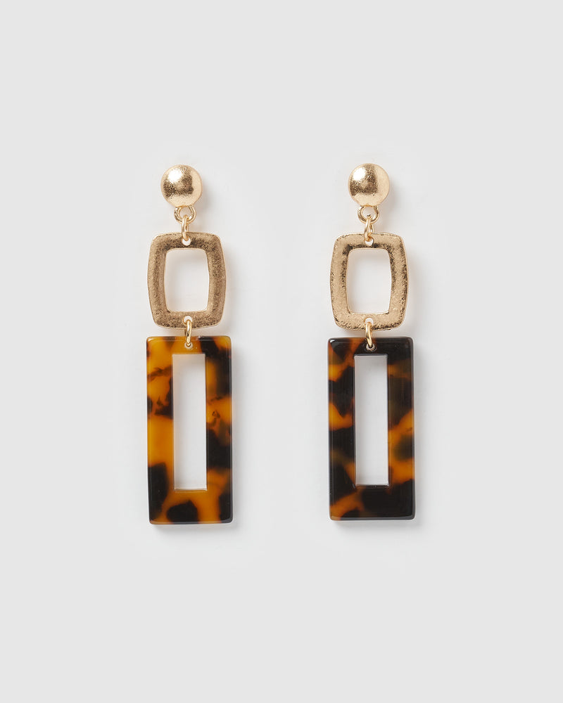 Izoa Mini Expectations Earrings Tortoise Shell