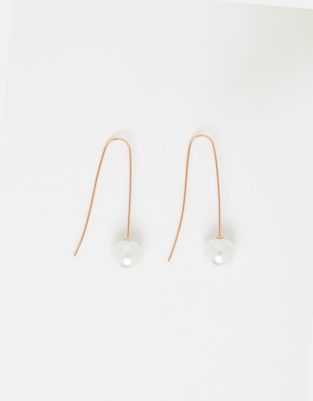 Izoa Moon Drop Earrings Rose Gold
