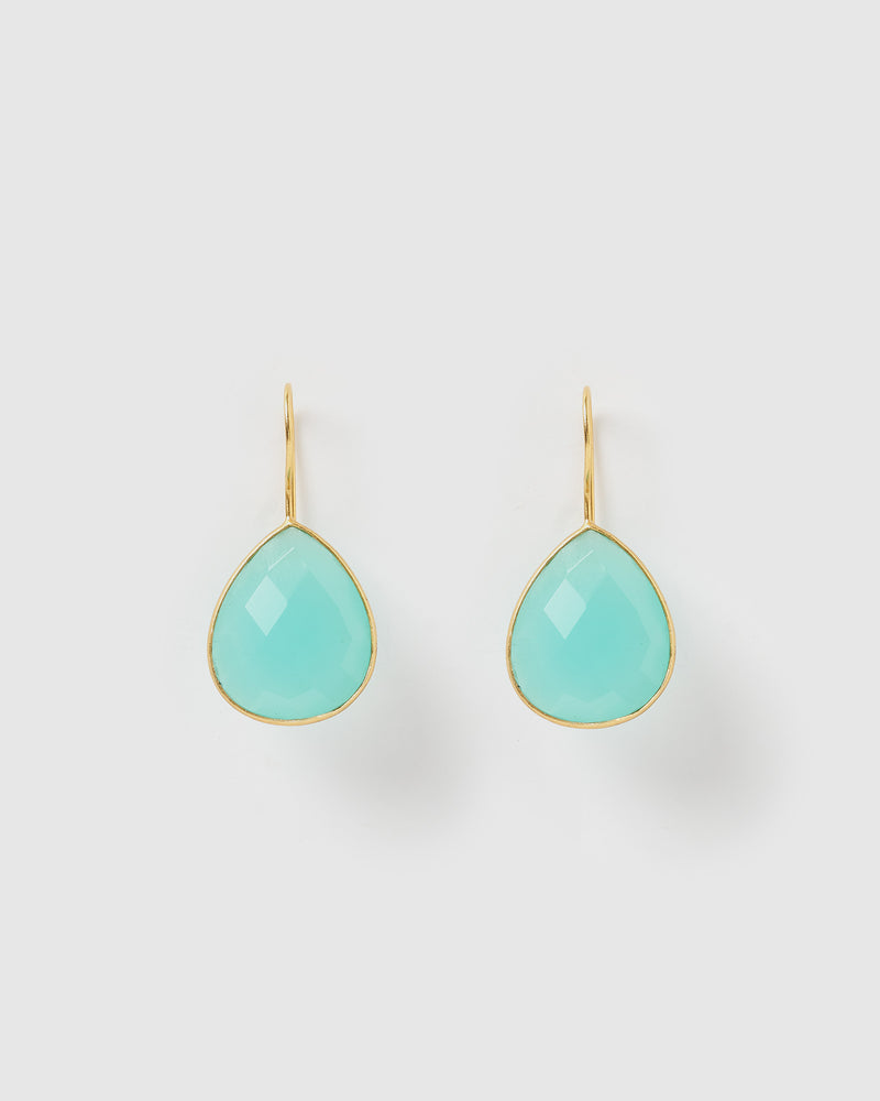 Izoa Maia Earrings Aqua Chalcedony Gold