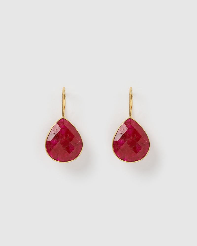 Izoa Maia Earrings Dyed Ruby Gold