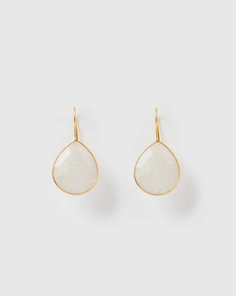 Izoa Maia Earrings Rainbow Moonstone Gold
