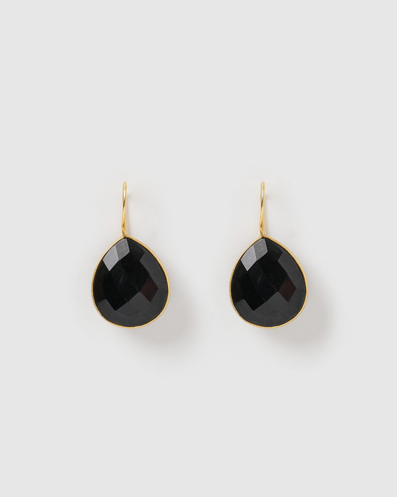 Izoa Maia Earrings Black Onyx Gold