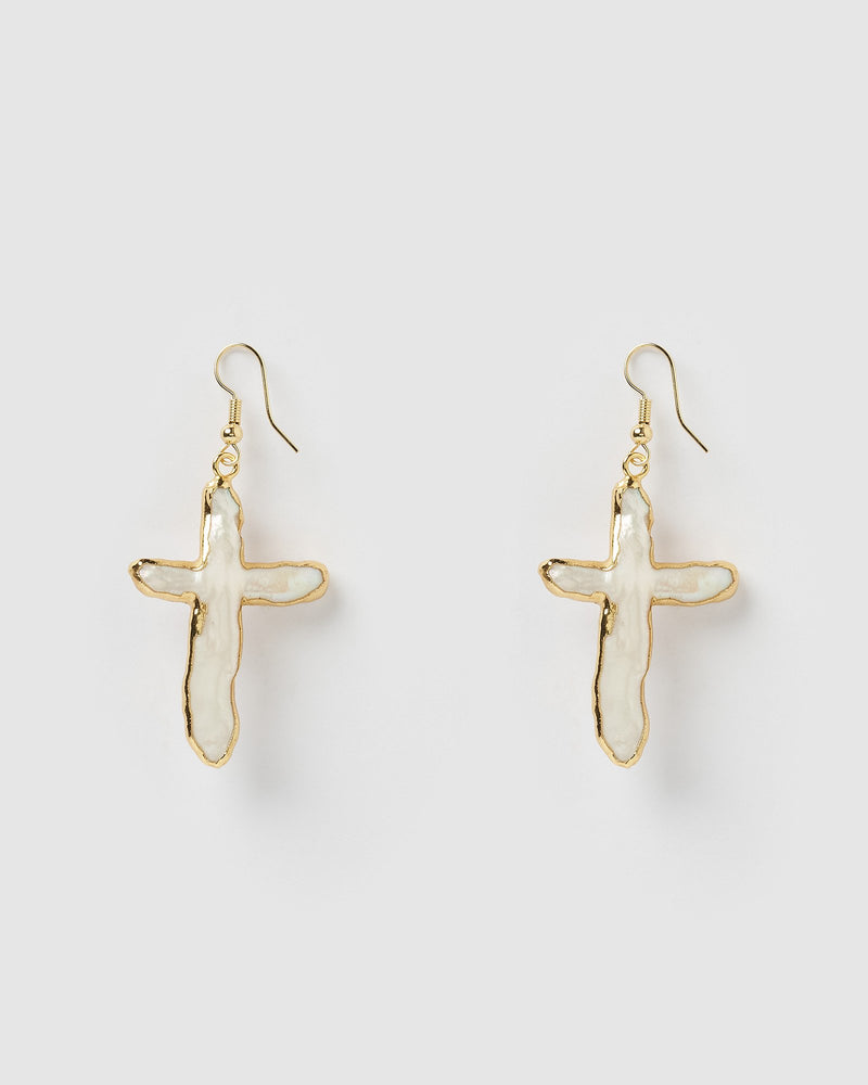 Miz Casa & Co Manifesto Cross Drop Earrings Gold Freshwater Pearl