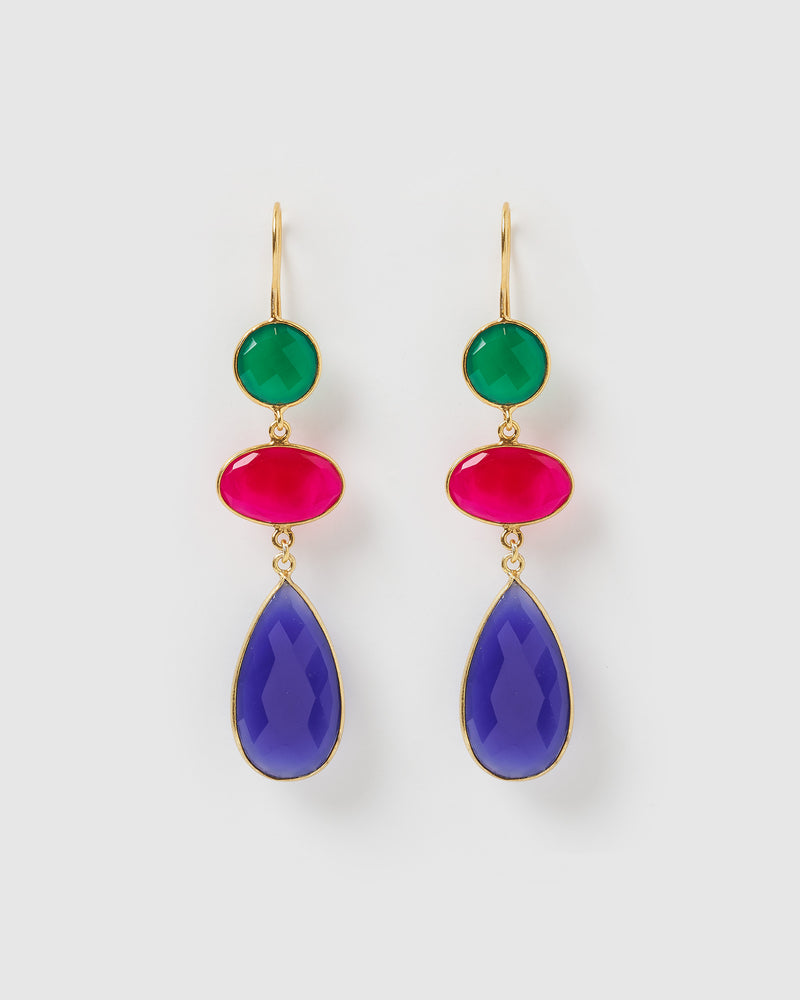 Izoa Masterpiece Earrings Blue Fuchsia Chalcedony Green Onyx