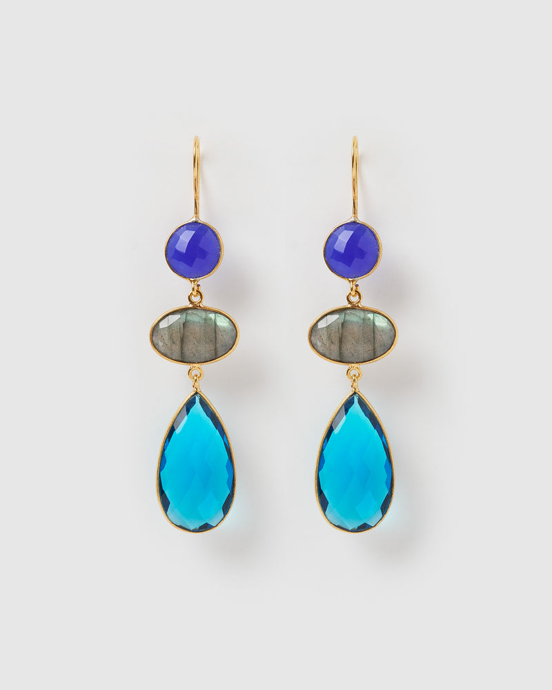 Izoa Masterpiece Earrings Hydro Blue Topaz Labradorite Blue Chalcedony