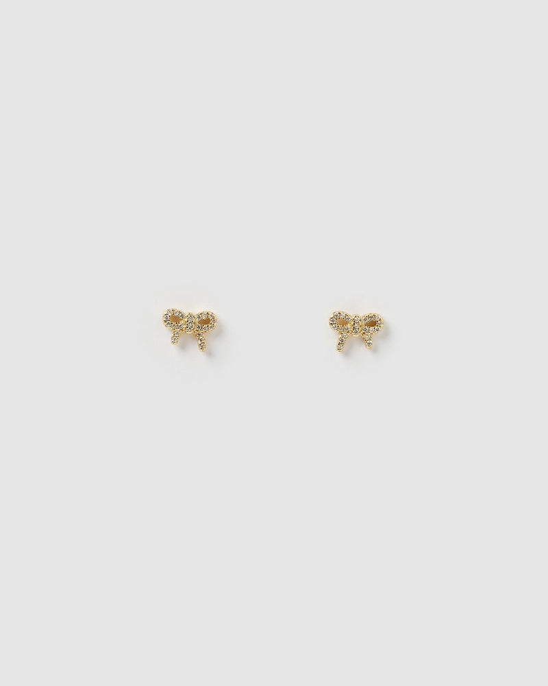 Izoa Mini Bow Stud Earrings Gold