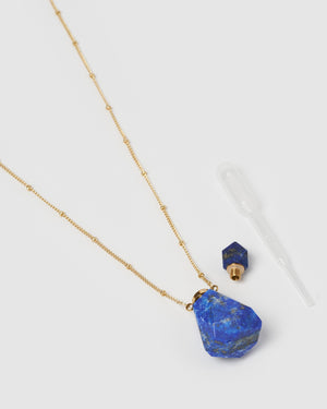 Miz Casa & Co Mini Fantasy Pendant Perfume Bottle Necklace Blue Lapis Gold