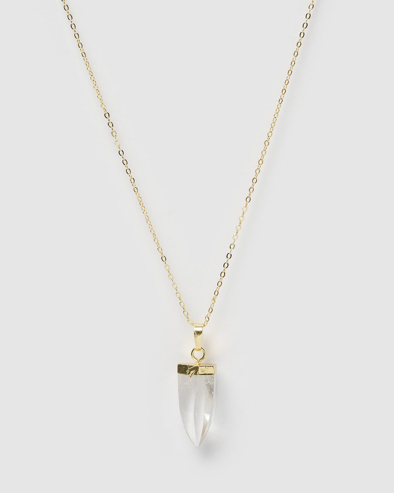 Miz Casa & Co Mini Isla Pendant Necklace Clear Quartz Gold