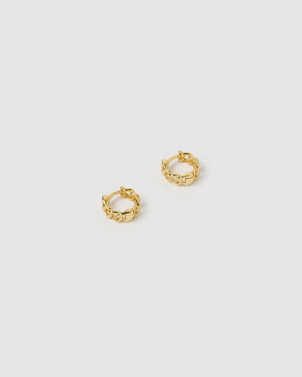 Izoa Mini Link Chain Huggie Earrings Gold