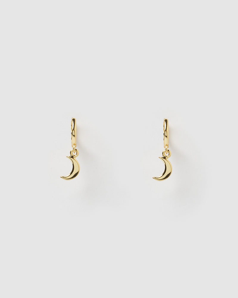 Izoa Mini Moon Huggie Earrings Gold