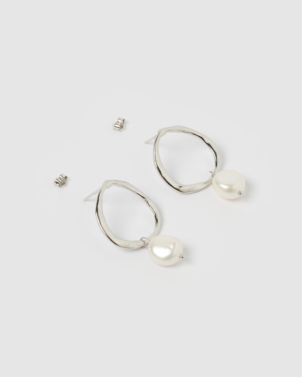 Izoa Mini Pearl Drop Earrings Silver