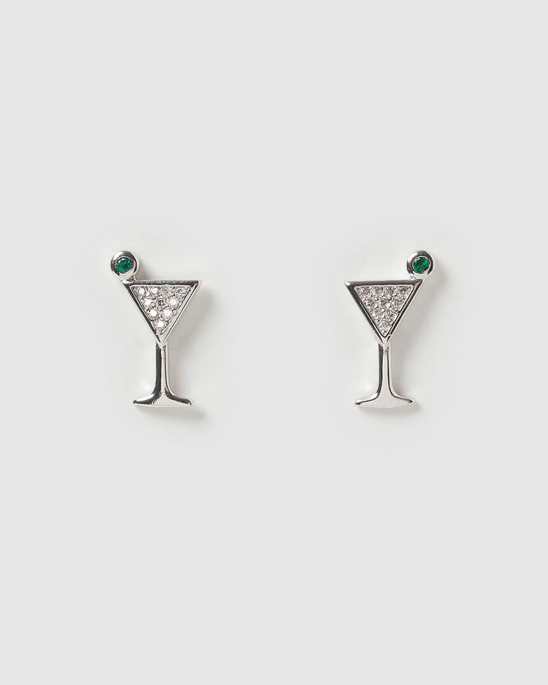 Izoa Mini Martini Stud Earrings Silver