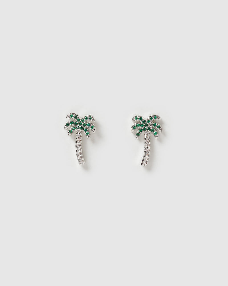 Izoa Mini Palm tree Stud Earrings Silver